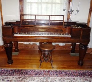 circa 1858 Chickering Rosewood Victorian Square Grand Piano