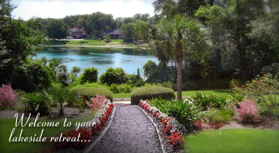 View of picturesque Lake Eulalia from our Orlando bed and breakfast