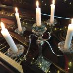 candles on piano